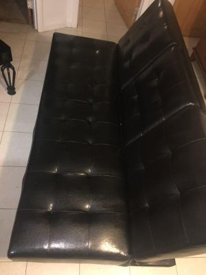 Black leather futon for Sale in Queens, NY