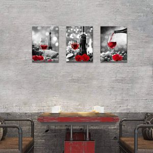 Wine Decor Kitchen Canvas Art Red Wine Rose Artwork Home Wall Black White Red Wine Painting Rose Art for Sale in Marquette, MI