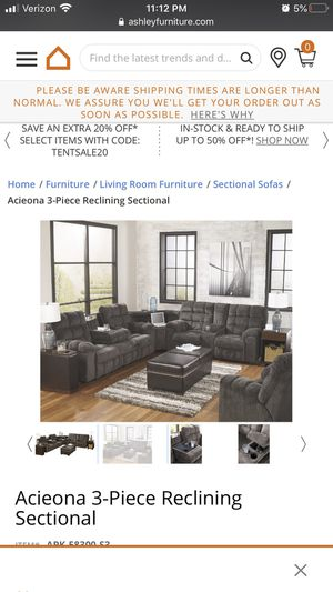 3-piece reclining sectional from Ashley's Furniture for Sale in Fullerton, CA