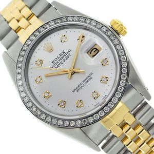 Rolex Datejust- 36mm Yellow Gold Steel Watch Silver Dial Diamond Bezel for Sale in Los Angeles, CA