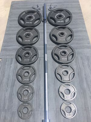 Weights Olympic Bar & Plates 2.5/5/10/25/35/45s for Sale in Riverside, CA