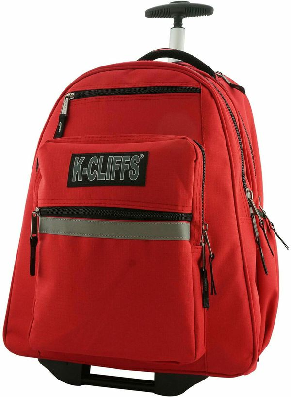 Heavy Duty Rolling Student School Bag with Wheels Deluxe Trolley Bookbag Wheeled Daypack Multiple Pockets with Safety Reflective Stripe Red