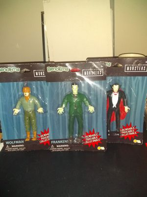 3 Brand New Universal Studios Monsters Bendems Dracula Frankenstein Wolfman Action Figures for Sale in Lexington, KY