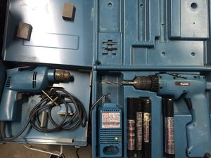 Two Makita power drills with box - one cordless with 2 working batteries and charger for Sale in Portland, OR