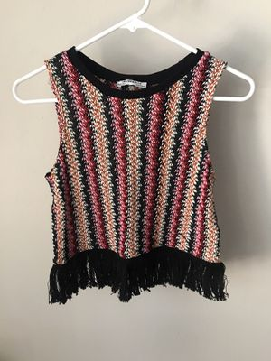 Zara Woven Top with Fringe Detail Size Small for Sale in Chicago, IL