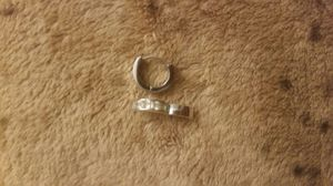Small silver hoop earrings, 6 square diamonds inside for Sale in Daly City, CA