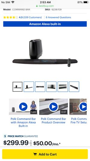 Brand new Polk audio command bar for Sale in Cleveland, OH