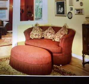 Oval couch and ottoman for Sale in Bend, OR