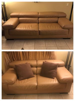 Couches Authentic Genuine Leather Brown Beige - (Set of 2) for Sale in Glendale, CA