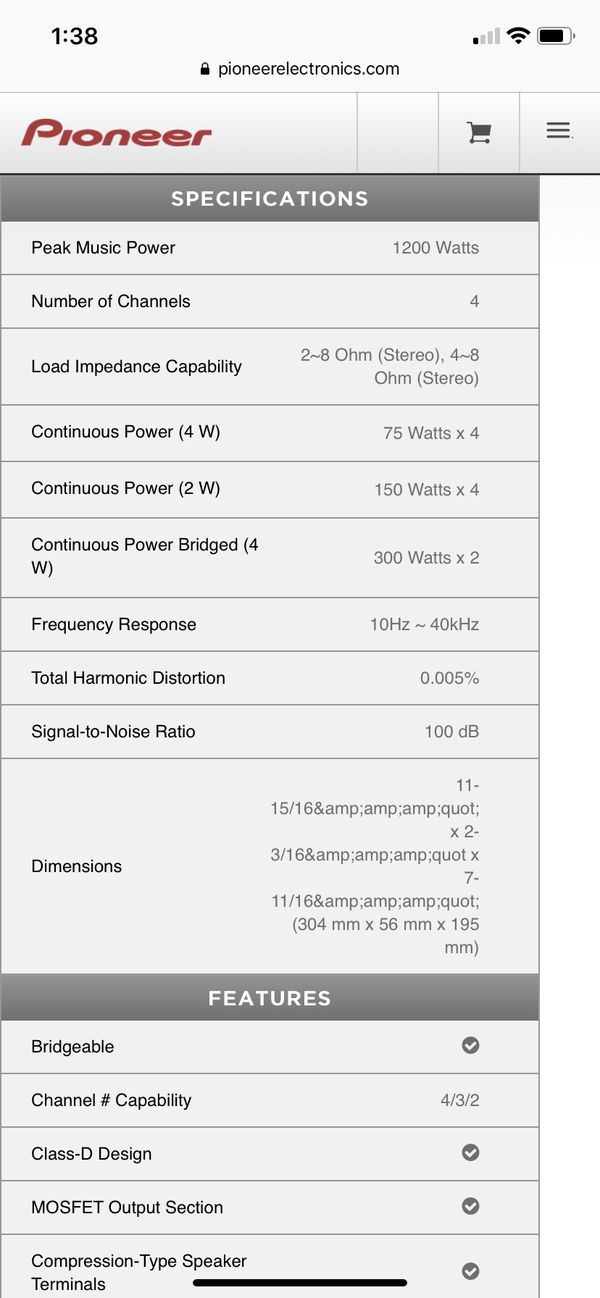 Premier Pioneer PRS-D4100F Amplifier