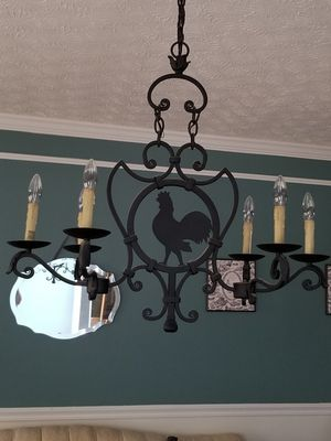 Farmhouse handforged iron rooster chandelier for Sale in Canal Winchester, OH