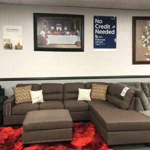 3PC Brown Sofa Sectional W/ Ottoman for Sale in Fresno, CA