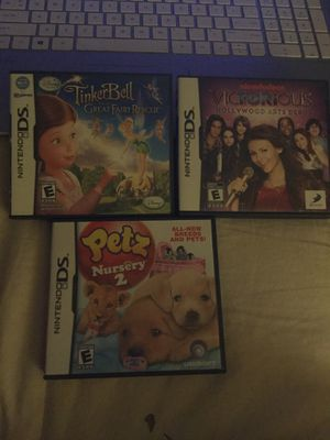 Nintendo ds kid games..Tinkerbell, victorious and pets nursery for Sale in Columbus, OH