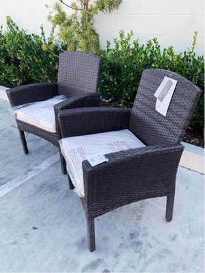"New in box SET OF 2 Santa Fe Dining Brown Chair Outdoor Wicker Patio Furniture With Tan Sunbrella material Cushion $400 at Costco seat height 19"" wid for Sale in Covina, CA"