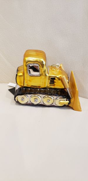 "Yellow Farm Tractor Christmas tree ornament decoration 4x2.75"" high quality glass tractor ornament Brand new with tags for Sale in Ontario, CA"