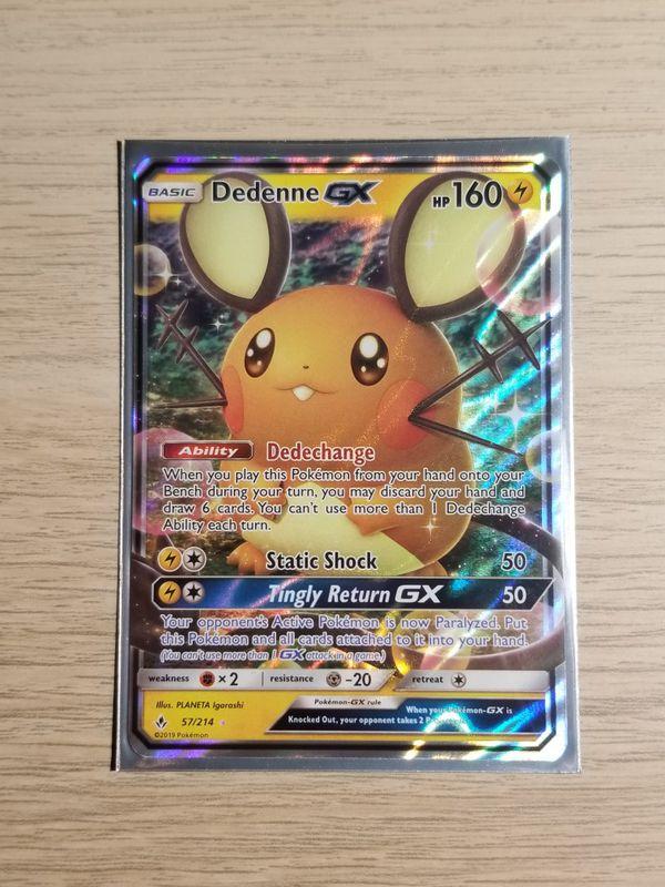 Dedenne GX, Pokemon card, Mint Sleeved