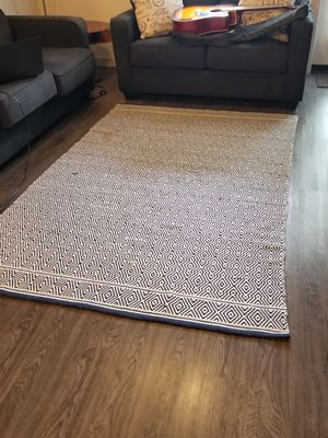 Blue and White Indian Throw Rug, 5x8 for Sale in Monrovia, CA