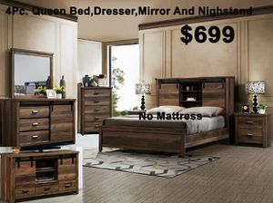 4PC QUEEN BED DRESSER MIRROR AND NIGHTSTAND/NO MATTRESS INCLUDED for Sale in Culver City, CA