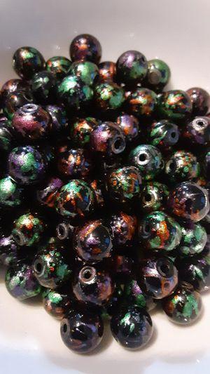 100 pc Mixed Glitterized Paint Splash Glass Beads 8mm for Sale in Ridgeville, SC