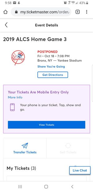 Houston vs Yankees Game 3 for Sale in Queens, NY