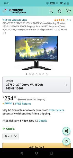 "GIGABYTE G27FC 27"" 165Hz for Sale in Oklahoma City, OK"