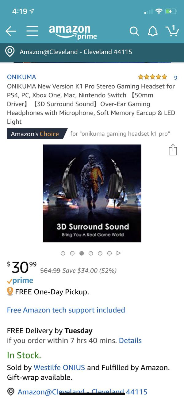 Brand New ONIKUMA Xbox One Gaming Headset, PS4 Headset with 7.1 Surround Sound, Noise Canceling Over-Ear Headphones with Mic, Soft Memory Earmuff for