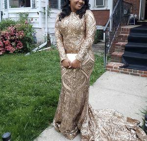 DRESS MUST GO!! Gold Sequin Mermaid Longline Formal Evening Prom Dress for Sale in Philadelphia, PA