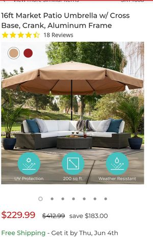 16 ft market patio umbrella with cross base,crank, alluminium frame for Sale in Dearborn Heights, MI