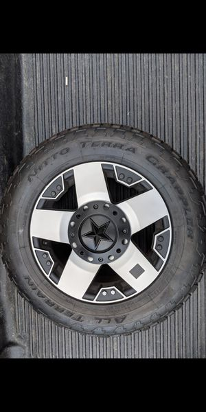 LIKE NEW SET OF 4 ROCKSTAR WHEELS WITH NITTO TERRA GRAPPLER TIRES for Sale in North Haven, CT