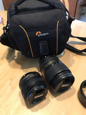Nikon lenses and lowepro bag. 18-300mm & 50mm for Sale in Folsom, CA