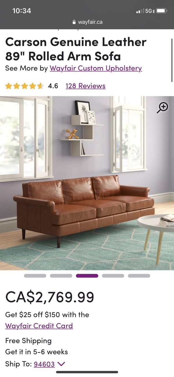 Genuine leather brown MCM Style Couch