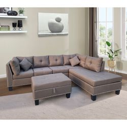 Light Gray Non Reversible Right Hand Sectional Sofa With Chrome Nails And Ottoman Storage for Sale in East Los Angeles,  CA