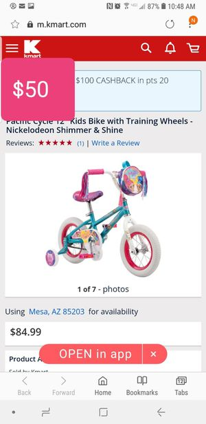 12in shimmer and shine bike with training wheels for Sale in Phoenix, AZ
