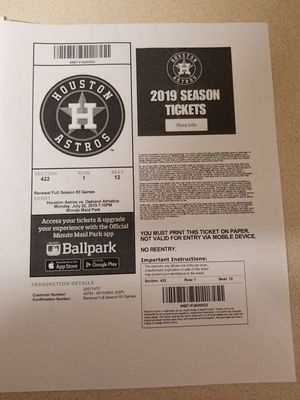 Astros game this monday 7/22 Need to sell!! for Sale in San Antonio, TX