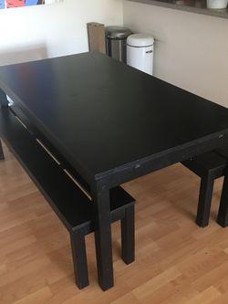 IKEA BJURSTA Extendable Wood Dining Table Black Brown for Sale in El Segundo,  CA