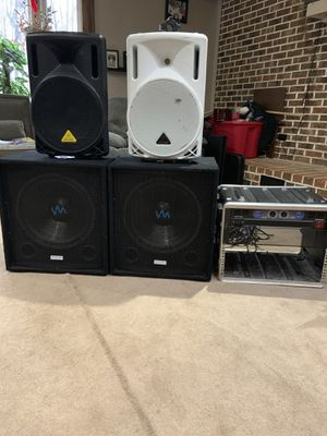DJ setup. 2 behringer speakers, 2 subs and and enclosed amp for Sale in Dale City, VA
