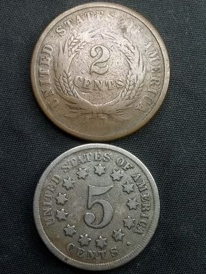 1864 2-CENT PIECE & 1868 SHIELD NICKEL *FINE CONDITION *OLD 🇺🇸 COINS for Sale in Playa del Rey, CA