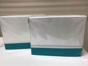 """New Kate Spade NY """"Grace"""" Sheet Sets CalKing or Full Sizes White With Turquoise Trim for Sale in Raleigh, NC"""