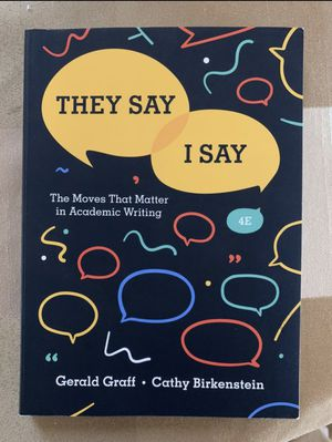 Gerald Graff They Say I Say 4th edition for Sale in Norwalk, CA