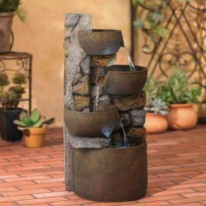 """SHIPPING ONLY 29"""" Outdoor Cascading Rustic Fountain w/LED Light Urn and Stone Decoration for Patio for Sale in Las Vegas, NV"""