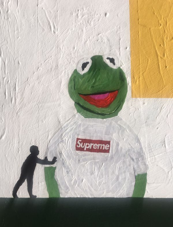 2008 Supreme x Kermit the frog x W C M T L custom art piece on canvas
