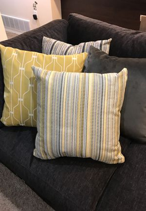 """20""""x20"""" couch pillow covers - yellow/grey for Sale in Orem, UT"""