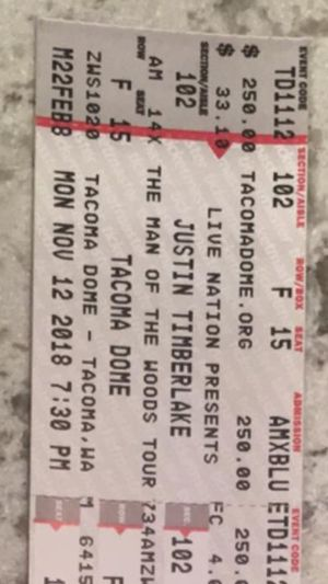 2 Justin Timberlake tickets to show Sunday feb 10 at 7:30 for Sale in East Wenatchee, WA