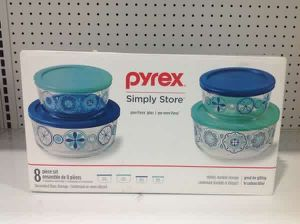 Pyrex Simply Store Glass Containers 8 Pcs Decorated Glass Storage Envases de cristal para guardar alimentos for Sale in Miami, FL