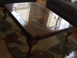 Brown wooden big table with matching side table for Sale in Ashburn, VA