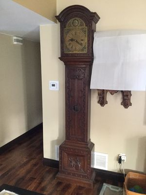 ANTIQUE GERMAN GRANDFATHER CLOCK CARVED OAK CASE for Sale in San Diego, CA