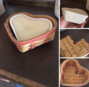 Longaberger heart basket and candle pottery insert for Sale in Hesperia, CA