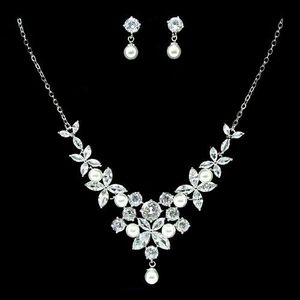 Cubic Zirconia With Pearl Pave Floral Cluster Necklace Set for Sale in Baldwin, NY