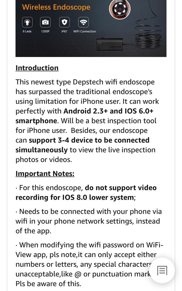 DEPSTECH Wireless Endoscope, WiFi Borescope Inspection 2 0 Megapixels HD  Snake Camera for Android and iOS Smartphone, iPhone, Samsung, Tablet  -Black(