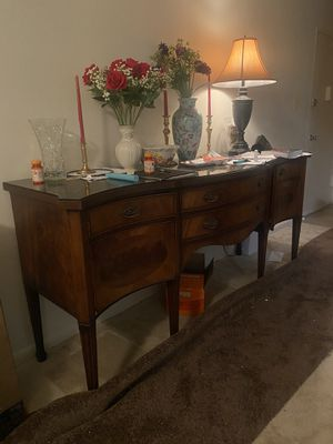 Tv table , Coaster Entry Table with Brown Curved Front and Shelf,view glasses for Sale in Fairfax, VA